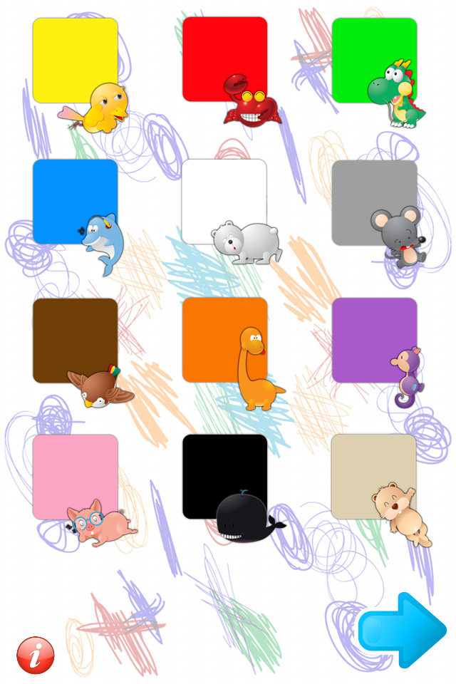 Screenshot Pierwsze Słówka: Kolory, Liczby i Kształty – aplikacja z polskim i angieslkim lektorem dla dzieci